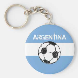 Football, Argentina Basic Round Button Key Ring