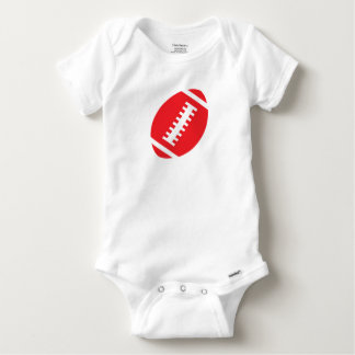 FOOTBALL BABY White | Front Red Football Baby Onesie