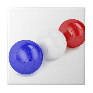 Football balls with flag of France Tile