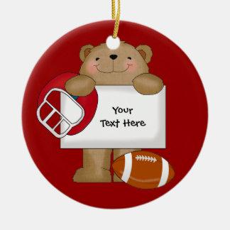 Football Bear Bulletin (customizable) Ceramic Ornament