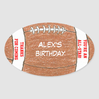 Football birthday party favor label oval sticker