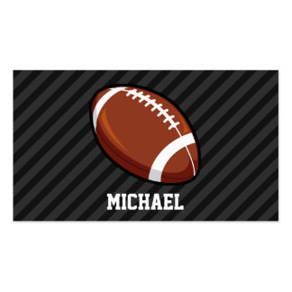 Football; Black & Dark Gray Stripes Double-Sided Standard Business Cards (Pack Of 100)
