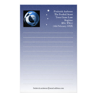 Football Blue Writing Paper