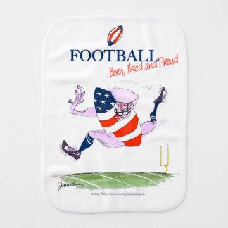 Football born bred proud, tony fernandes burp cloth