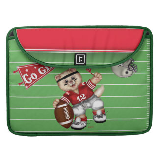 FOOTBALL CAT 2 CARTOON Rickshaw Macbook Sleeve
