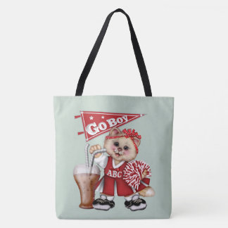 FOOTBALL CAT 2 Girl All-Over-Print Tote Bag Large