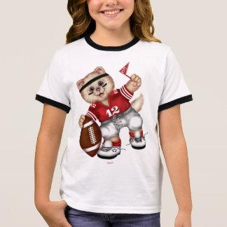 FOOTBALL CAT Girl's Ringer T-Shirt