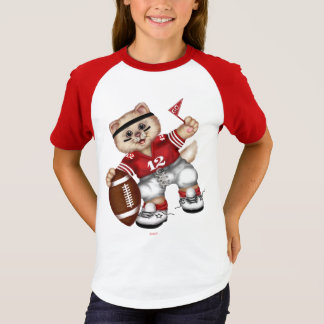 FOOTBALL CAT Girls' Short Sleeve Raglan T-Shirt