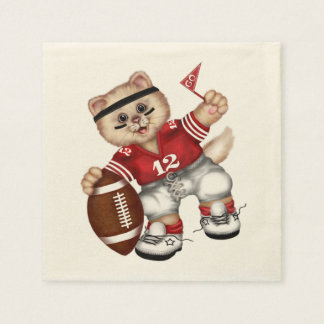 FOOTBALL CAT NAPKINS Standard Cocktail Paper Napkin