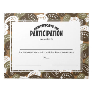 Football Certificates of Participation Notepad