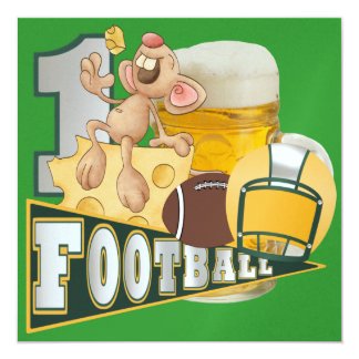 Football Champions Green and Yellow - SRF 13 Cm X 13 Cm Square Invitation Card