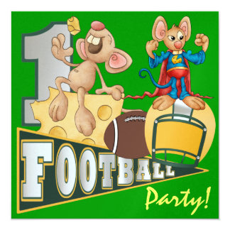 "Football Champions Green and Yellow - SRF 5.25"" Square Invitation Card"