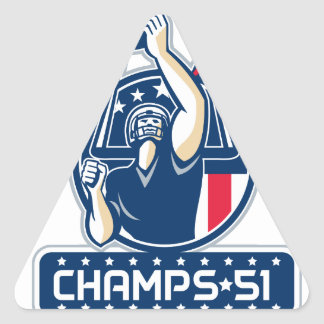 Football Champs 51 New England Retro Triangle Sticker