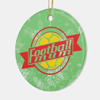 Football Christmas Tree Decoration, Footy Mum Round Ceramic Decoration