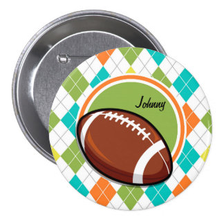 Football; Colorful Argyle Pattern Pin