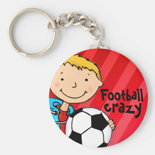 Football crazy red sports keychain