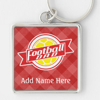 Football Dad Customisable Keyring Silver-Colored Square Key Ring