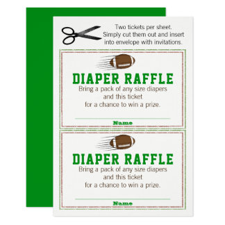 Football Diaper Raffle Tickets Card