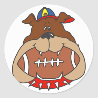 football dog classic round sticker