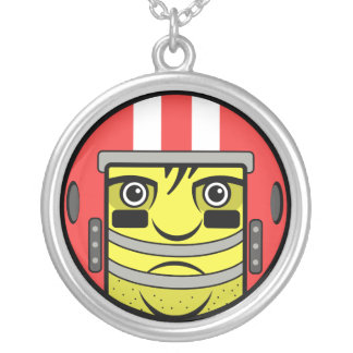 Football Face Silver Plated Necklace