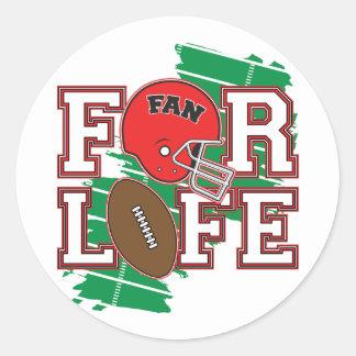 Football Fan Red Round Sticker