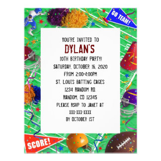 Football fan theme birthday party invitations full color flyer
