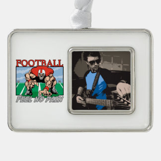 Football Feel No Pain Silver Plated Framed Ornament