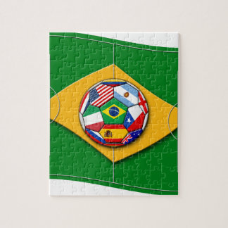 football field looks like Brazil flag with ball Puzzle