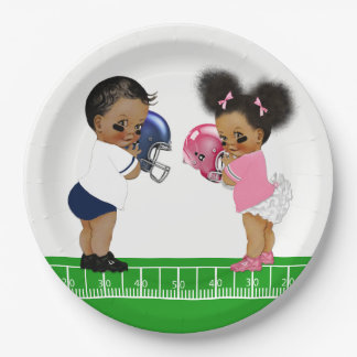 Football Gender Reveal Baby Shower Paper Plates