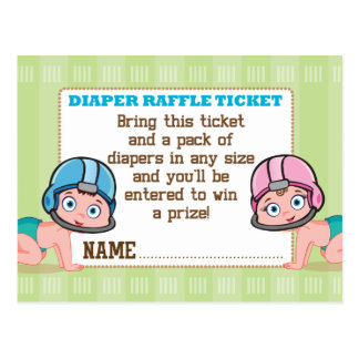 Football Gender Reveal Diaper Raffle Card Postcard