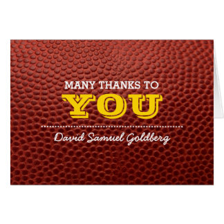 Football Gold Bar Mitzvah Thank You Note Card