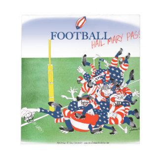 Football 'hail mary pass', tony fernandes notepad