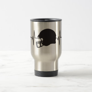 Football Helmet - Heartbeat Pulse Graphic Travel Mug