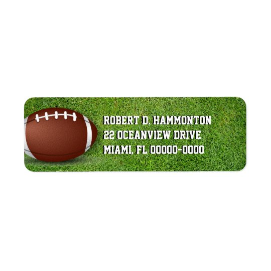 Football in the Grass Return Address Label