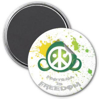 "Football is Freedom magnet (round 3"" splash green)"