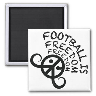 """Football is Freedom magnet (sq 2"""" black on white)"""