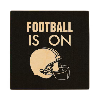 FOOTBALL IS ON MAN CAVE WOODEN COASTER WOOD COASTER