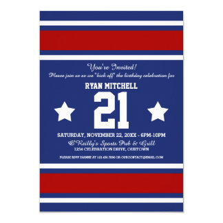 Football Jersey Blue|Red Party Invitations