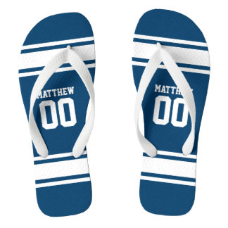 Football Jersey Blue|White Personalized Thongs