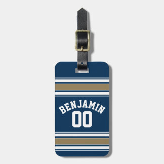 Football Jersey Navy Blue Gold Stripes Name Number Luggage Tag