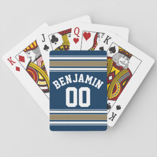 Football Jersey Navy Blue Gold Stripes Name Number Playing Cards