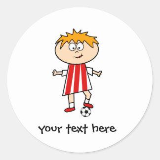 Football Kid Round Sticker