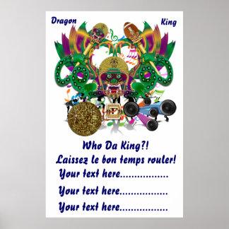 Football Mardi Gras Dragon King view notes Please Poster