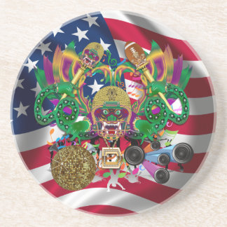 Football Mardi Gras Memorabilia View Notes Please Drink Coaster