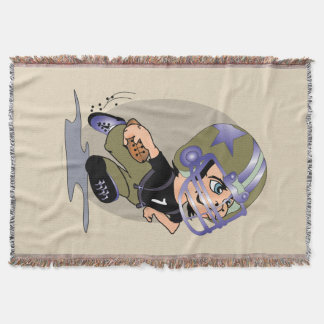 FOOTBALL MASCOTTE CARTOON Throw Blanket