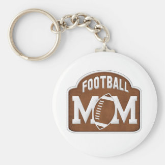 Football Mom Basic Round Button Key Ring