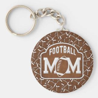 Football Mom Basic Round Button Key Ring