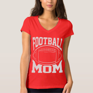 Football Mom in White with Player Name and Number T-Shirt