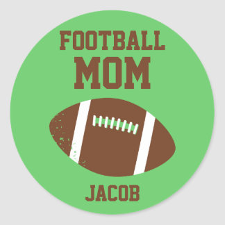 Football Mom Number with Name Brown Round Sticker