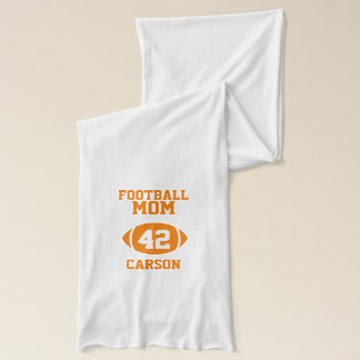 Football Mom Number with Name Orange Scarf